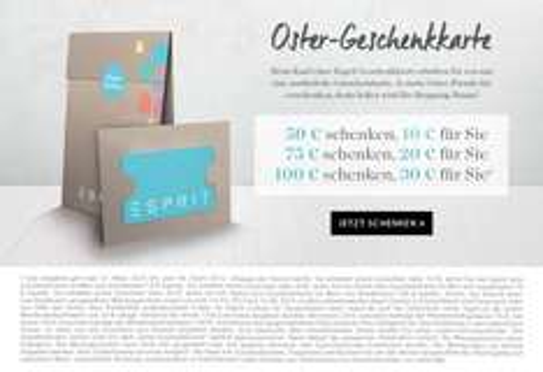 Esprit Osteraktion - 30 Euro Gutschein geschenkt beim Kauf von einem 100€ Gutschein