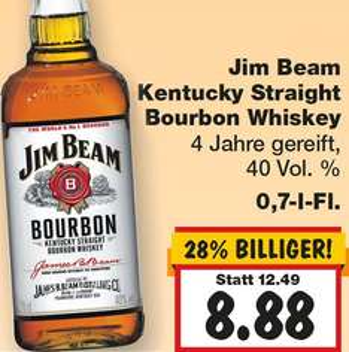 Jim Beam Whiskey für nur 8,88 € bei [ KAUFLAND ]