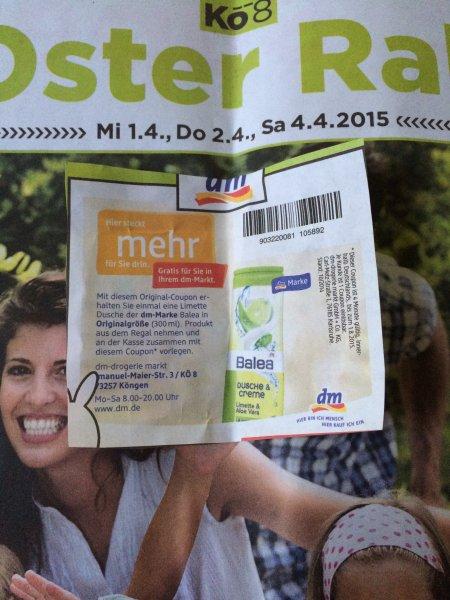 dm Balea Dusche & Creme gratis ( Lokal Köngen 73257 )