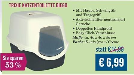 [Kölle-Zoo] Trixie Katzentoilette Diego für 6,99 Euro (bis 07.04.15)