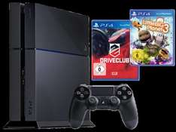 399€ SONY PS4 Konsole 500GB schwarz inkl. DriveClub und LittleBigPlanet 3