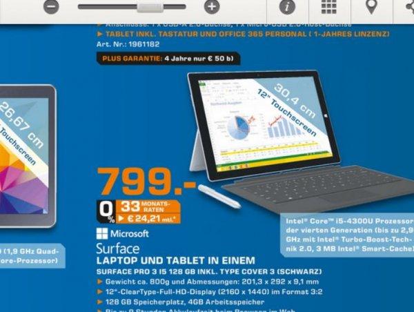 Surface Pro 3 i5, 128GB, 4GB RAM + Type Cover 3 [Lokal Saturn Kassel / Sammel Deal]