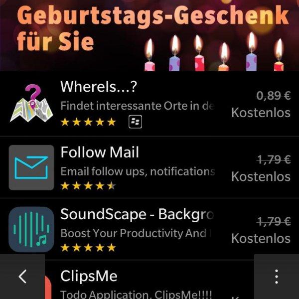 BlackBerry Geburtstagsgeschenk [Updated]=diverse Appcodes in Kommentaren