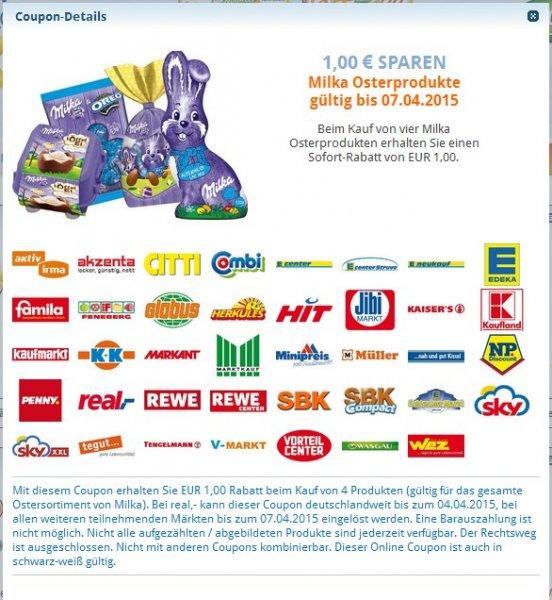 1€ Sofortrabatt beim Kauf von 4 Milka Osterartikeln