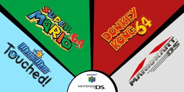 Super Mario 64, Donkey Kong 64, Mario Kart DS, Wario Ware Touched! für Wii U Virtual Console erhätlich, zeitlich begrenzt 4 Spiele zum Preis von 3 für 29,97€
