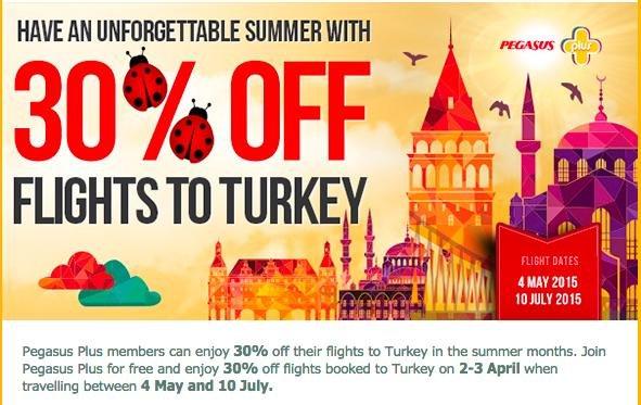30% Rabatt auf Flüge mit Pegasus Airlines in die Türkei und zurück (04.05 - 10.07.) Bsp: Nürnberg - Istanbul für 86,09 EUR
