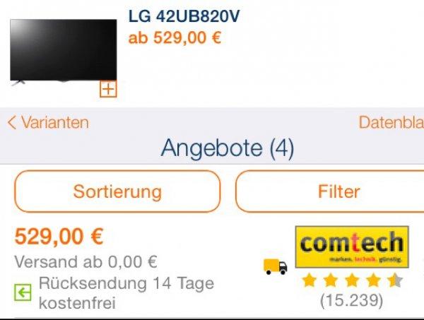 """LG UB820V in 42"""" für 519,-€ Plus Chance zu halbieren"""