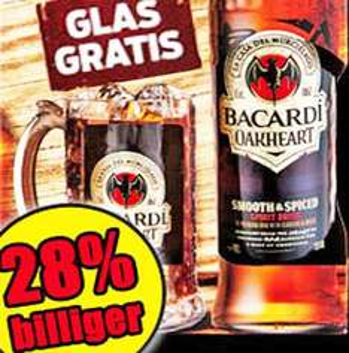 BACARDI OakHeart nur 8,88€ + GRATIS OakHeart Glaskrug dazu bei [Norma]