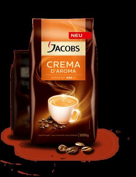 Jacobs Crema D'Aroma Kaffeebohnen Probierset gratis bestellen.
