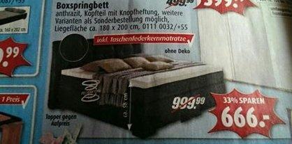 "Boxspringbett ""Mero"" (180x200) ab 06.04. bei Roller für 666,- €"