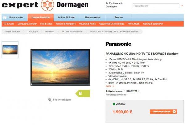 PANASONIC 4K Ultra HD TV TX-65AXW804 titanium für 1.999 EUR
