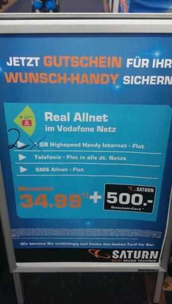 Nur am 4.4.2015 Vodafone MD Allnet Flatrate 34.99€ mit 500€ Gutschein!(Lokal Saturn Wedding)