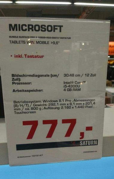 [Saturn Freiburg] Microsoft Surface Pro 3 i5 (128GB) + Type Cover für 777€