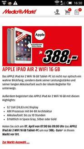 Apple iPad Air 2 WiFi 16 GB,  Media Markt Österreich