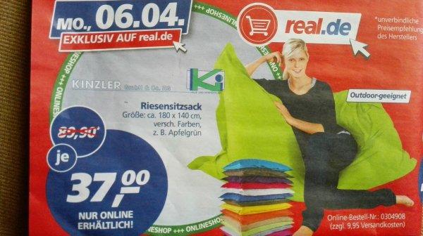Kinzler XXL Sitzsack (outdoorfähig) bei real.de 37€ + 10€ Versand