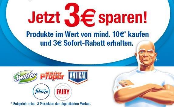 [BUNDESWEIT] Rewe 3€ Sparen auf alle Produkte von Swiffer, Meister Proper, Antikal, Febreze, Fairy MBW 10€