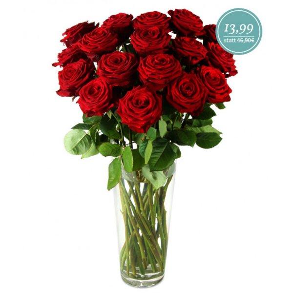 Miflora: 17 rote Rosen für 13,99 + 5,90€ Versand + 10% Cashback