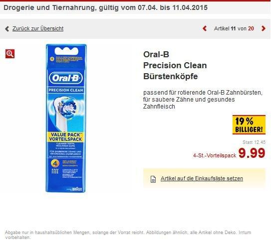 4x Oral-B Precision Clean Bürstenköpfe Kaufland Stuttgart, Bad Cannstatt