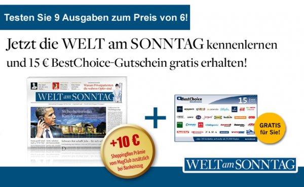 WELT am SONNTAG 9 Wochen lang rechn. mit 2,80 € Gewinn bestellen (Universalgutscheine)