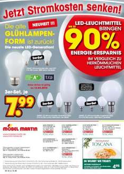 [lokal] Möbel Martin LED Leuchtmittel im Glühlampen Design, 3er Pack, 7,99