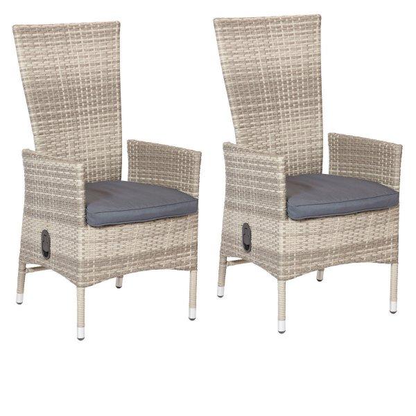 2 Sessel PolyRattan Lehne stufenlos verstellbar Gartenmöbel grau NEU @eBay 139,99 Euro