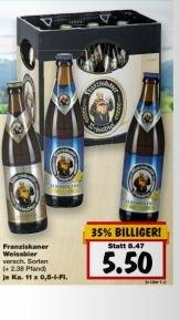 [Kaufland 13.-18.4.] Franziskaner Weißbier (versch. Sorten) 11*0,5 Liter für 5,50€