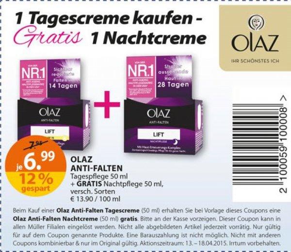 [BUNDESWEIT] ab 13.04.2015 Müller Olaz Anti-Falten Tagescreme (50ml) + Gratis Olaz Nachtcreme für 6,99€