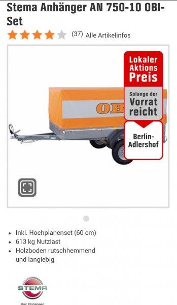 [Berlin] Stema 750kg PKW-Anhänger / 349€