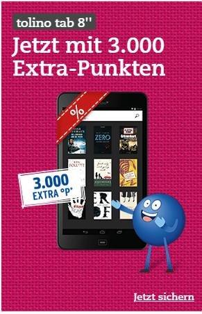 """tolino tab 8"""" für rechnerisch für nur 119 EUR - mit 3.000 Payback-Punkten"""