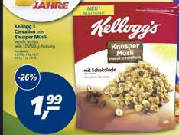 [BUNDESWEIT][REAL] 13.04. - 18.04.2015 Kellogg's Knusper Müsli (+ weitere Sorten) für nur 1,29€, dank Angebot + Coupon!