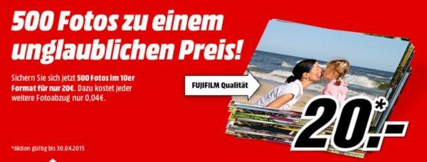 Media Markt Online 500 Fotos in 10er Format für 20€ weitere nur 0,04€ bis 30.04
