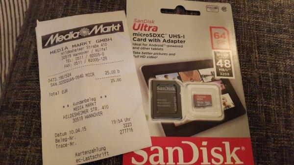H-Wülfel Media Markt: 64GB microSDXC UHS-I 48mb/s für 25,- €