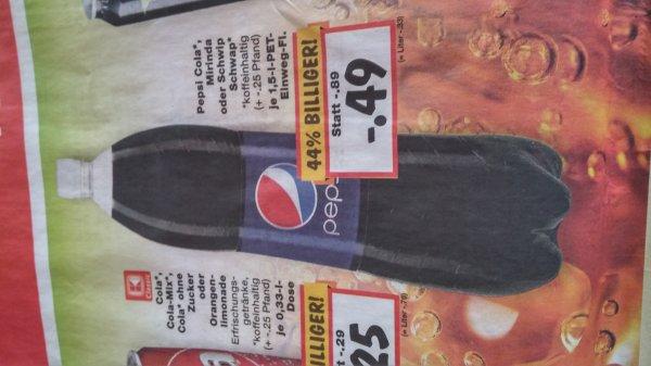 Pepsi cola mirinda schwip schwap 1.5l für 0.49€/Liter=33ct @ Kaufland evtl nur in BW