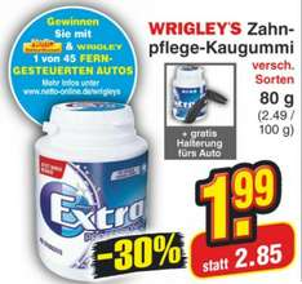 [Netto MD] KW 16:  Wrigleyx27s Extra Professional Kaugummis nur 1,99€ + Gratis Auto-Halterung + 1€ Gewinn durch GzG möglich!