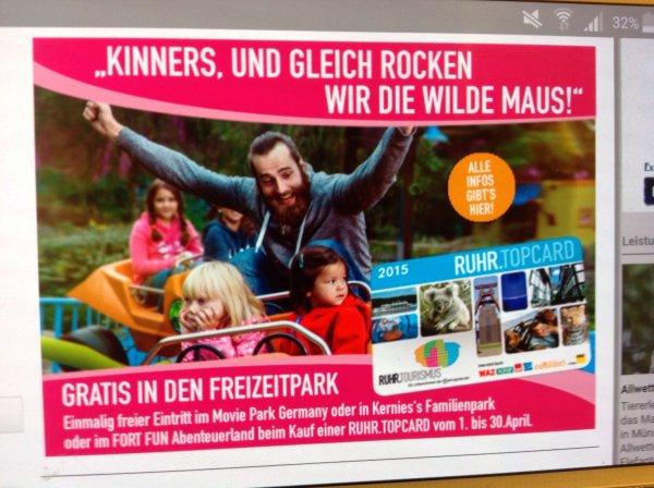 RuhrTopcard beim Erwerb bis zum 30.04.2015 einmalig freier Eintritt im Moviepark o. Fort Fun