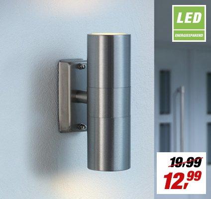 [toom offline] Edelstahl-Außenleuchte mit zwei GU10- LED -Spots für 12,99 €