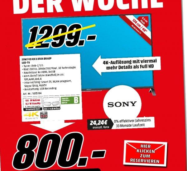 "[Lokal Mediamarkt PortaWestfalica] Sony TV KD49X8505B 125 cm (49"") 3D 4K Ultra HD für 800,-€"