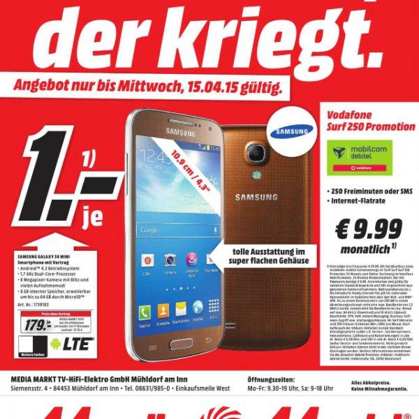 Samsung S4 Mini mit Vertrag für 1,- (9,99 montl.) oder ohne Vertrag 179,- (MM Mühldorf)