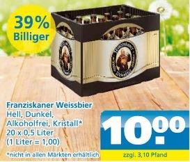[Toom Getränkemarkt] Franziskaner Weissbier 20*0,5L 10.00€