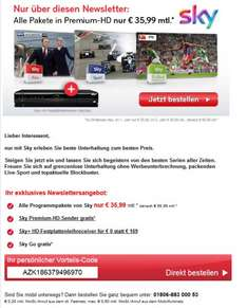 [COUPON] SKY KOMPLETT Abo inkl. Premium-HD, SKYGO undHDD-Receiver - 973,66 € (in 24 Monaten) effektiv 40,57€ pro Monat.