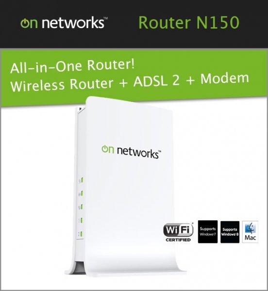 On Networks N150 WLAN Router + ADSL2+ Modem für 14,90 @ ebay.de