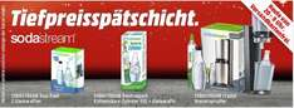 [Mediamarkt Tiefpreisspätschicht]Sodastream Crystal für 79,-€**Sodastream Kohlensäure-Zylinder60L+Glaskaraffe für 22,-€**Sodastream Duo-Pack/2Glaskaraffen für 15,-€ Versandkostenfrei