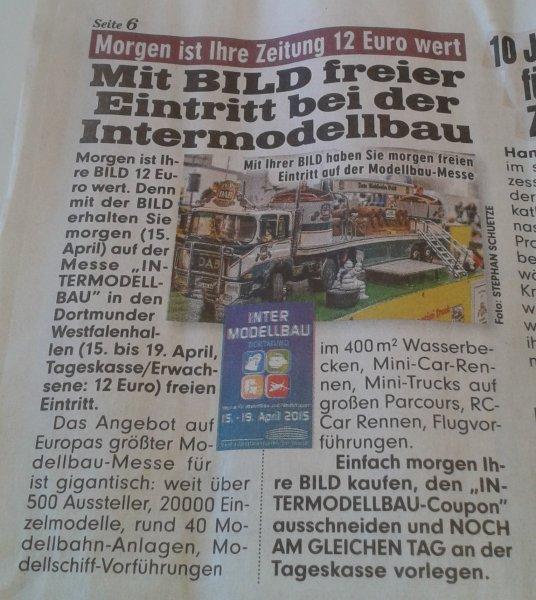 INTERMODELLBAU Ticket in der BILD am 15.04.2015