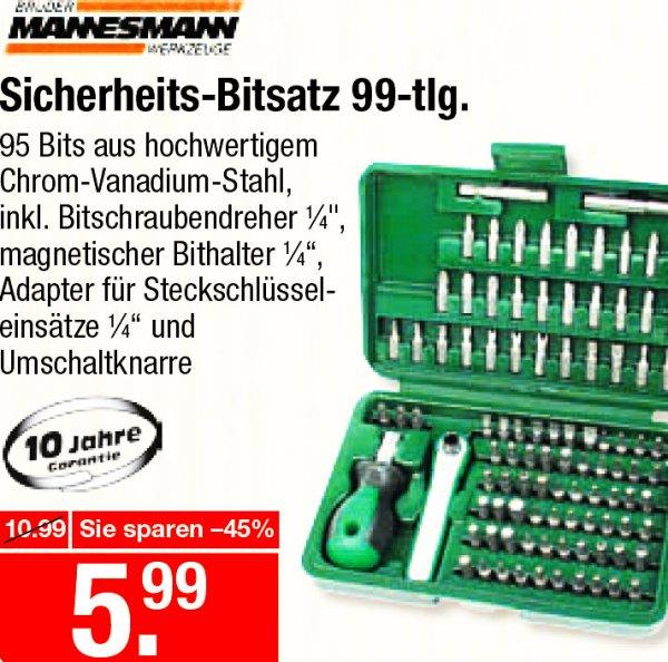 Mannesmann Bitsatz 99-teilig, aus hochwertigem Chrom-Vanadium-Stahl, preiswerte 5,99€ [V-Markt regional]