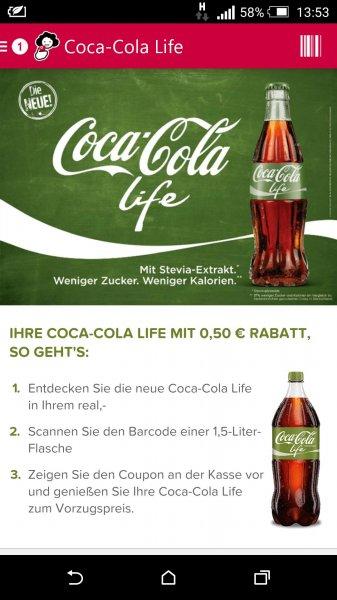 Coca Cola Life (Grün mit Stevia) 50cent Rabatt bei real durch Barcoo