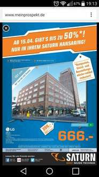 LOKAL Saturn Köln Hansaring, ab 15.04.2015 u.A. LG LED TV 60LB561V für 666€
