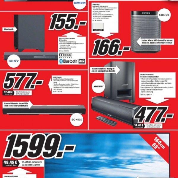 Sony 65W955 (1599€) Sonos Play:1 (166€) und Playbar (579€) MM-Köln Marsdorf