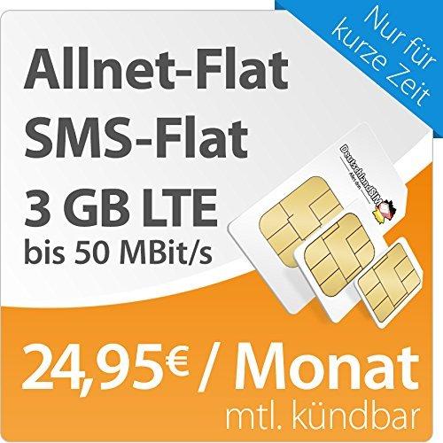 All_es Flat, 3GB, monatlich kündbar, O₂, DeutschlandSim - 24,95€
