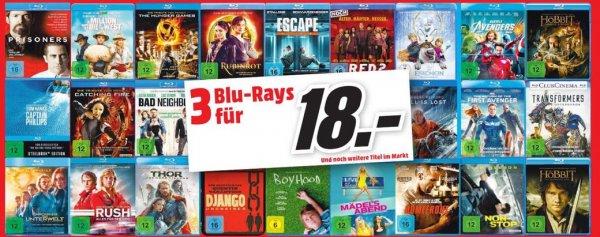 [Media Markt Köln-Marsdorf] 3 Blu-Rays für 18,- EUR (z.B. Captain America 2, Django Unchained, Avengers)