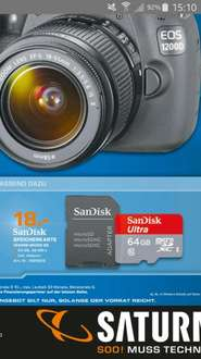SanDisk Ultra Micro-SDXC inkl. Adapter, 64 GB Class 10, UHS-1, bis zu 48mb/s (Saturn lokal?)